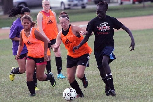Worthington Girls Soccer Team in action